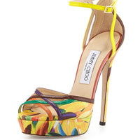 Laurita Feather-Print 135mm Sandal, Spice Mix