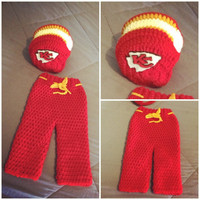 Baby Football Team Sports Helmet, Beanie, Hat, and Pants Photo Prop Outfit Set for Newborn -6 Months in Kansas City Chiefs