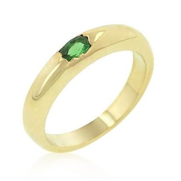Ofira Emerald Oval Gold Band Ring | 18k Gold