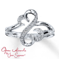 Open Hearts Ring 1/20 ct tw Diamonds Sterling Silver