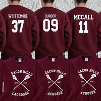 Hoodie Teen Wolf Beacon Hills Maroon Stilinski 24, Mahealani 06, Mccall 11, Lahey 14,Dunbar 09,Whittemore 37 Unisex Adult Made in by USA