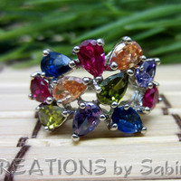 Rhinestone Ring, Multi Colored, Pear Cut, Teardrop, Cocktail, Pinky, Size 6.5, Vintage