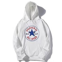 Converse 2019 new classic printing men and women couple plus velvet hooded sweater White
