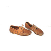 tan leather boat shoes 80s vintage minimal slip on neutral oxfords