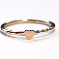 Tiny Heart Ring (14K gold heart-stacks with initial rings)