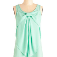 ModCloth Pastel Mid-length Sleeveless Hello, Bow! Top in Mint