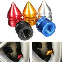 4 Pcs Set Aluminum Tire Rim Wheel Valve Cap Dust Cover Universal Car Van Bike Motorbike