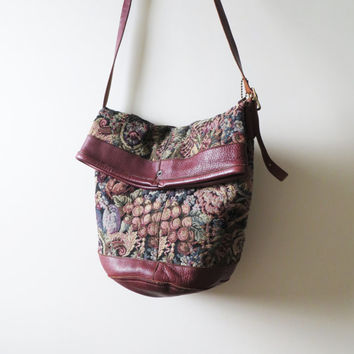 80s Tapestry and Leather Tote Corinne Farber Foldover Crossbody Carpet Bag Made in Canada