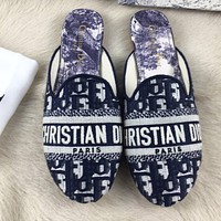Onewel DIOR Print slippers blue letters sandals stripe white blue