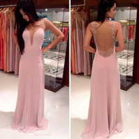 Summer 2015 New Sexy Style Charming Pure Color V Neck Lace Slit Lap Pink Long Dress