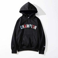 Champion autumn and winter tide brand lovers long-sleeved color embroidery letter hooded sweater Black