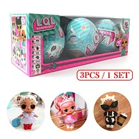 3Pcs LQL Girl Surprise Doll 95mm Funny Fingerling Egg Ball Doll Water Spray Change Toy Figures For Kids Toys Christmas lol Gifts