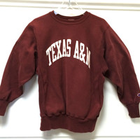Vintage Champion Reverse Weave / Texas A&M / Aggies / Maroon / Large