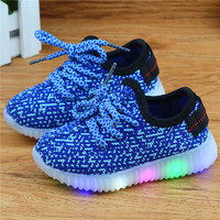 EU 21-36 New Casual  Mesh Children Shoe Kids Shoes LED Girl shoes with lights for kids boys Lighted Sport Shoe girls Sneakers