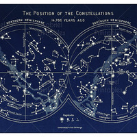 The Position of the Constellations, Printable for Framing, Vintage Astronomy map, 300 DPI Star Map, Astronomy Digital Art, constellation map