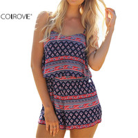 Sexy Summer Women Romper Vintage Jumpsuits New Arrivals 2016 Womens Multicolor Spaghetti Strap Print Layered Rompers