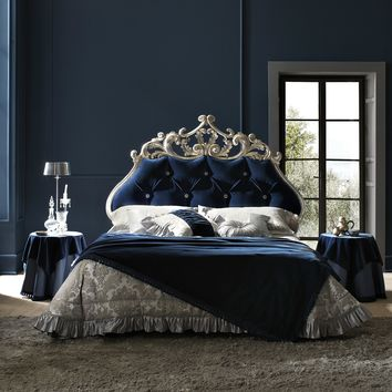 Double bed with tufted headboard VELVET by Bolzan Letti