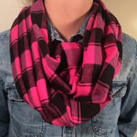 Handmade Infinity Scarf Plaid Flannel - Double Layer Super Warm! Hot Pink and Black Loop Scarf, Christmas Present, Gift Under 25.00