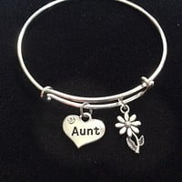 Aunt Charm Bracelet Silver Adjustable Expandable Bangle Trendy Handmade Trendy Family Sister