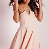 Missguided - Strappy Skater Dress Nude