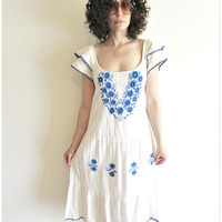 Vintage Cream and Blue Embroidered Flower Mexican Folk Peasant Hippy Boho Dress