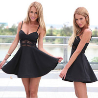 Hot Sexy Black Summer Casual Sleeveless Skater Evening Cocktail Short Mini Dress