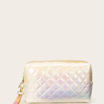 Unicorn Ombre Quilted Leather Makeup Bag