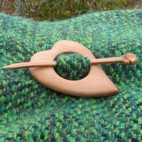 Wooden Heart Shawl Pin - Cherry wood  -Accessory for knit and crochet scarves