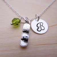 Snowboard Charm Swarovski Birthstone Initial Personalized Sterling Silver Necklace / Gift for Her - Snowboarding Necklace