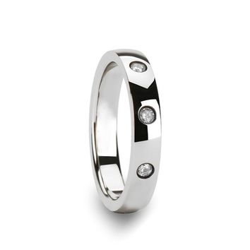 Silver Polished Tungsten Wedding Band for Men with 3 White Diamonds in Center - 4MM
