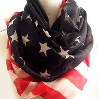 Soft Lightweight Vintage American Star Bangled Banner Flag - World Cup - Patriotic July 4th Scarves - Red White Blue USA - Traditional Scarf