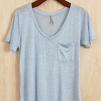 Perfectly Imperfect One-Pocket Shabby Tee, Powder Blue