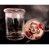 Marilyn Monroe Odorless Air Tight Medical Glass Jar Container Herb Spice JM2