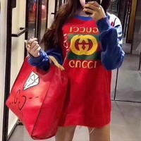 """Gucci"" Women Casual Fashion Letter Logo Print Multicolor Long Sleeve Sweater Tops"