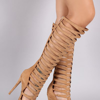 Suede Caged Cutout Pointy Toe Stiletto Boots