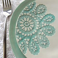 Lace Ceramic  Dessert and Dinner Plate Set of 2 Unique Mint Serving Plate Wedding Decoration Hand Built Turquoise  Color