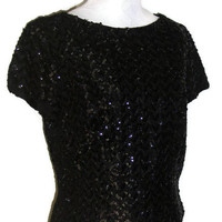 "Vintage 1960's Black Sequin Shell Style Blouse, Unique Back Zip Evening Top, Glamorous Sequin T-shirt, Bust 39"" (99.1cm), Free US Shipping"