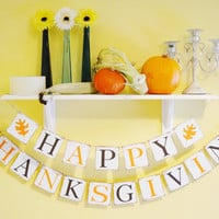 Happy Thanksgiving Banner - Thanksgiving Banner - Fall Banner - Photo Prop - Garland Sign - Party Decor - Bunting - Orange and Brown