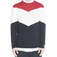Red Color Blocking Knitted Pullover