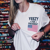 hip hop streetwear skate white t shirt men clothes plus size women clothing usa american flag yeezy for president kanye yeezus