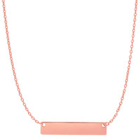 14K Rose Gold Engravable Bar Pendant On 18 Inch Necklace