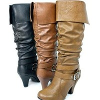 BUCKLE KNEE-LENGTH CUFF BOOTS