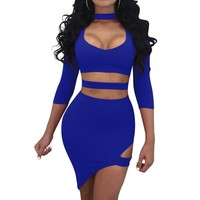 Women's Sexy Nightclub Wear Dress 2019 Necklaces Hollow Out Short Vestido Party Irregular Tunic Female Clothing WS5302y