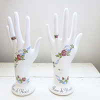 Porcelain Display Hands, Jewelry display hands, white porcelain, floral print, craft fair display, two left hands, hand displays