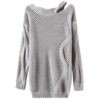 Asymmetrical Off Shoulder Knitted Sweater
