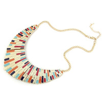 Multicolor Shell Shaped Statement Curb Chain Necklace
