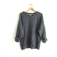 vintage dark gray wool sweater. slouchy knit shirt. pullover sweater. oversized cozy fit.