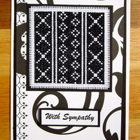 Handmade Cross Stitch Sympathy Card Assisi Style Black and White