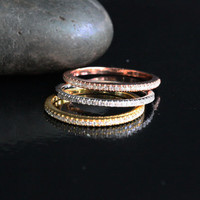 Stacking 14k Rose White and Yellow Gold Diamond Half Eternity Ring Set (size options at checkout)