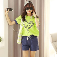 Diamond Printed Tee Drawstring Shorts Set